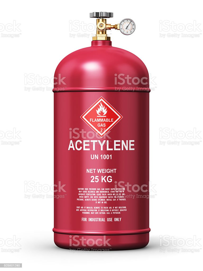 Liquefied acetylene industrial gas container stock photo