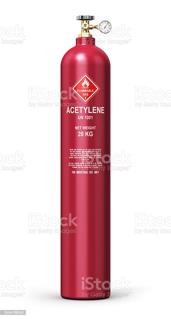 Liquefied acetylene industrial gas cylinder stock photo