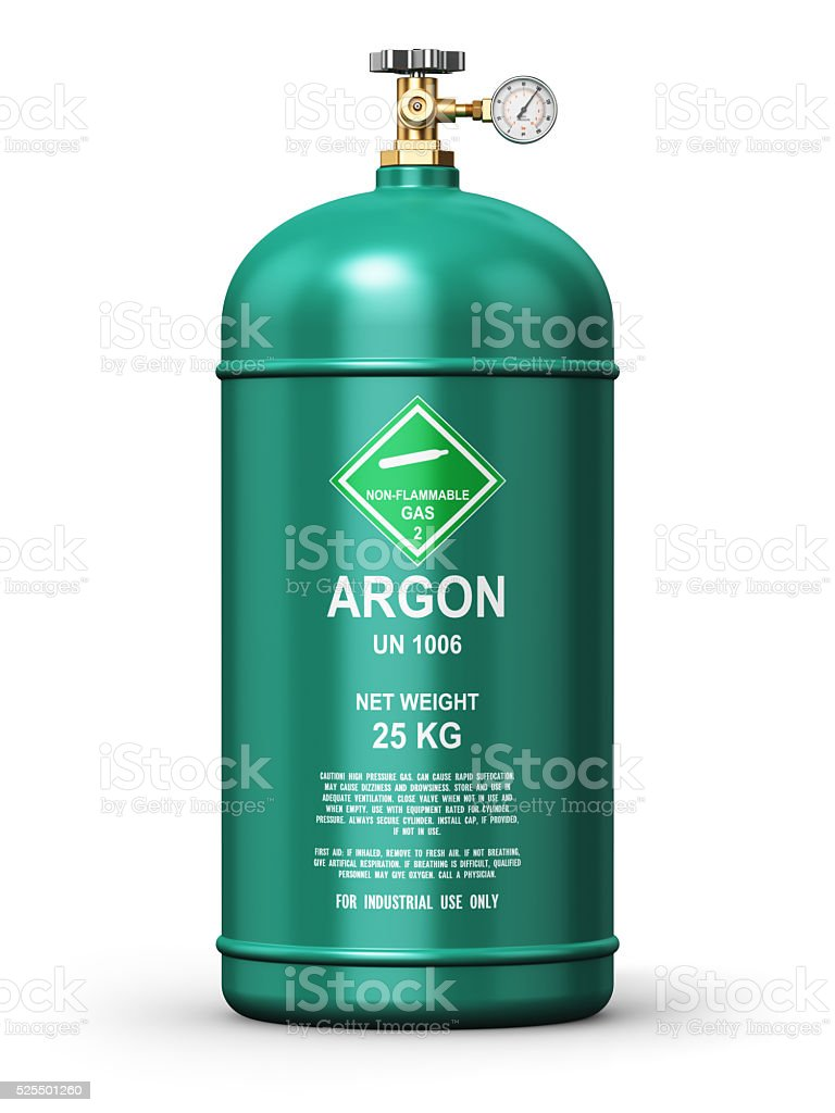 Liquefied argon industrial gas container stock photo