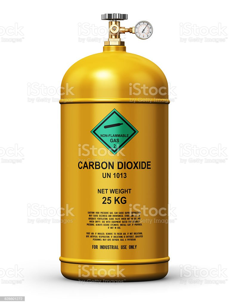 Liquefied carbon dioxide industrial gas container stock photo