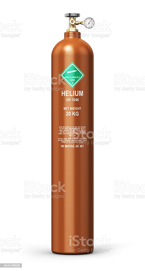 Liquefied helium industrial gas cylinder stock photo