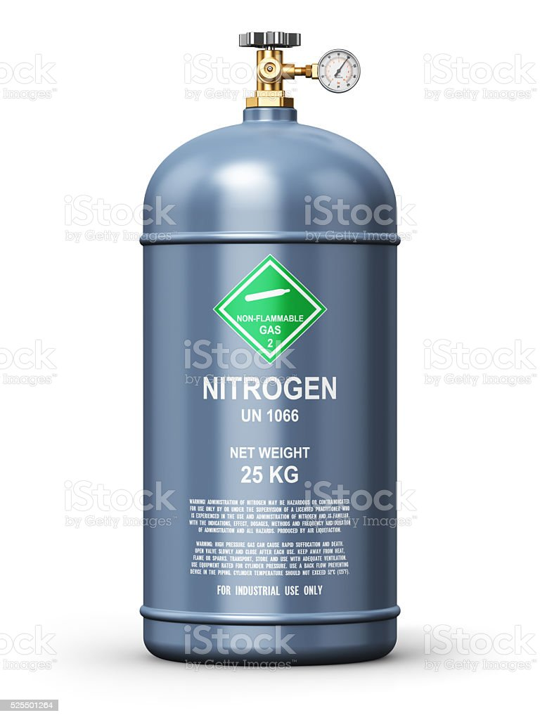 Liquefied nitrogen industrial gas container stock photo