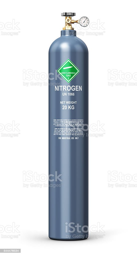 Liquefied nitrogen industrial gas cylinder stock photo