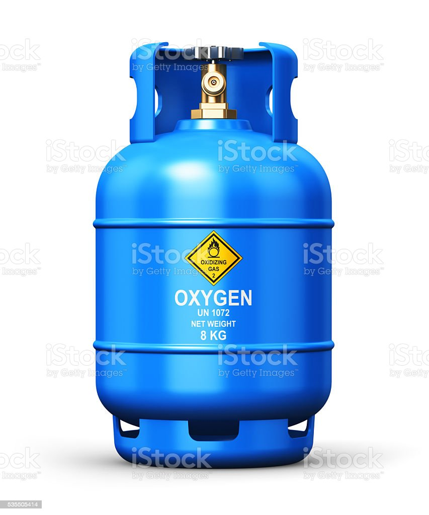 Liquefied oxygen industrial gas container stock photo