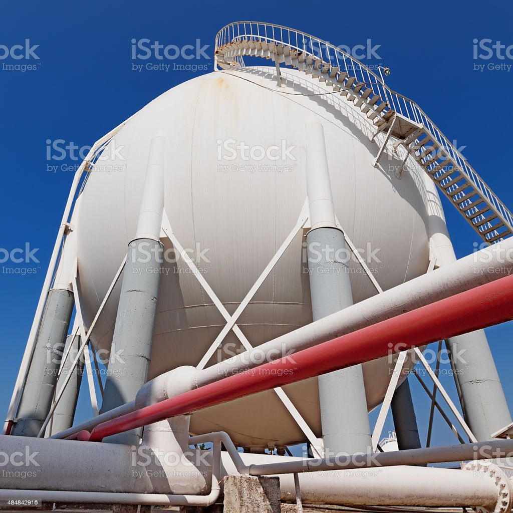 Liquefied petroleum gas (LPG) containers and pipelines stock photo