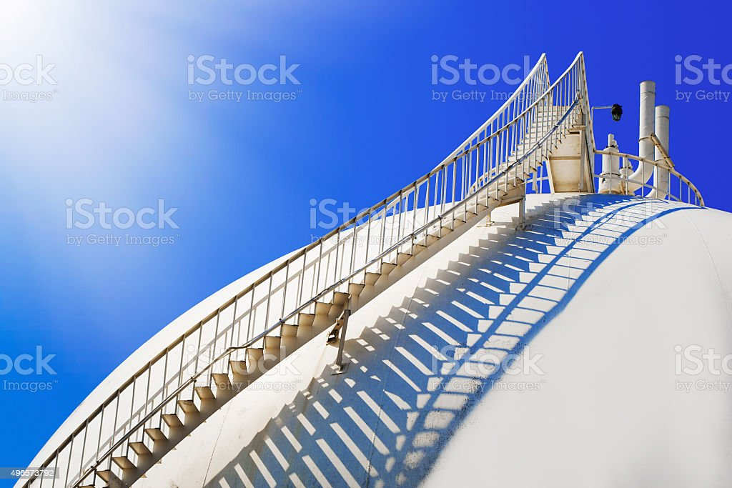 Liquefied petroleum gas (LPG) containers and Staircase stock photo