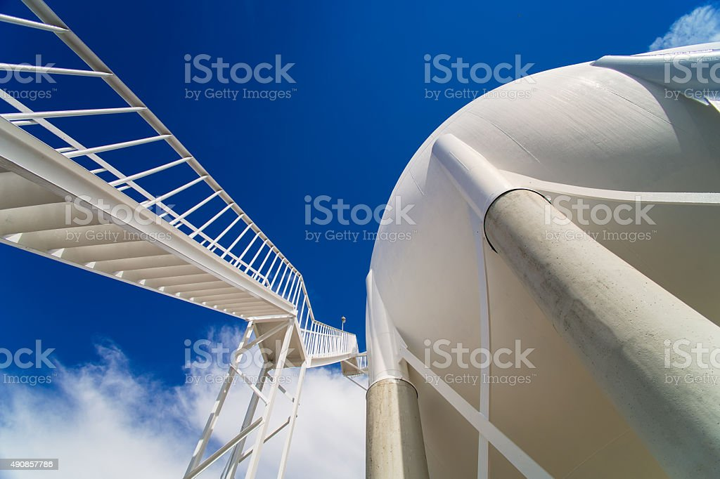 Liquefied petroleum gas (LPG) containers and stairs stock photo