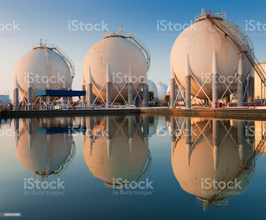 Liquefied petroleum gas (LPG) containers stock photo