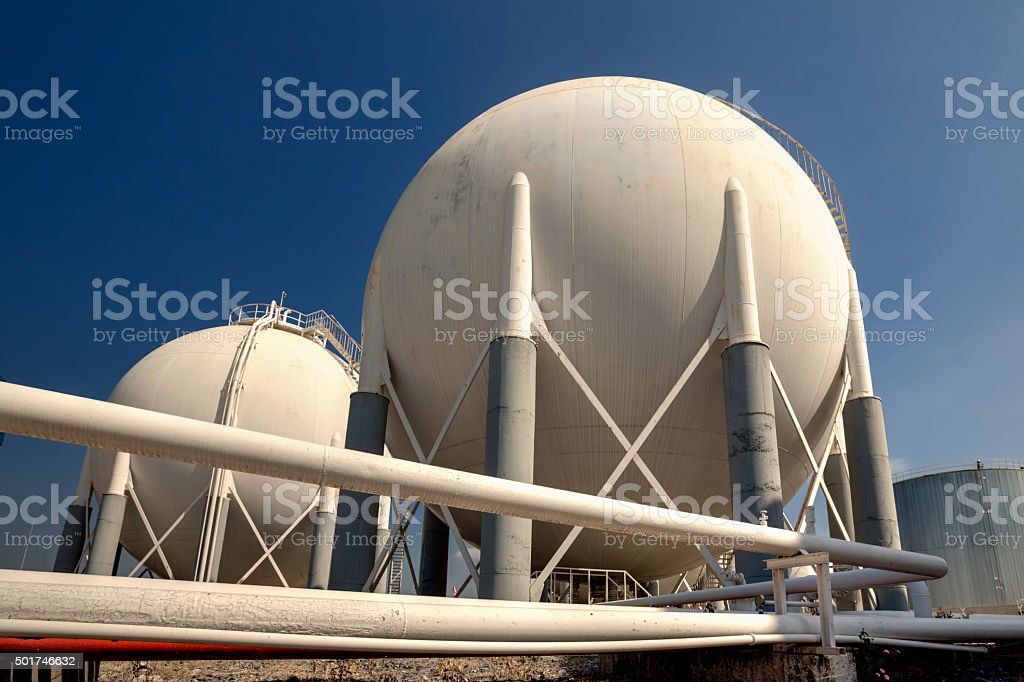 Liquefied Petroleum Gas tanks and pipeline stock photo