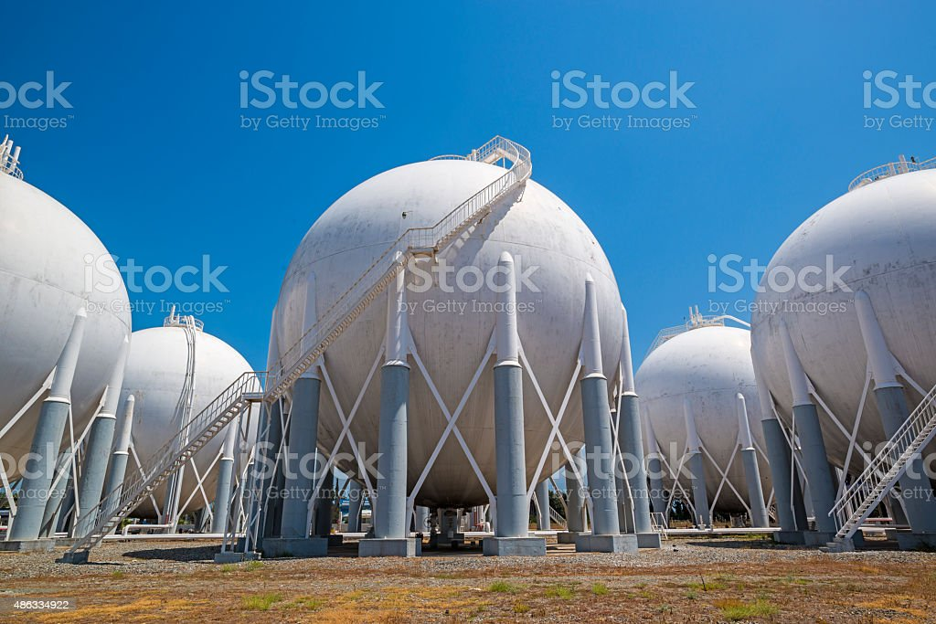 Liquefied Petroleum Gas tanks stock photo