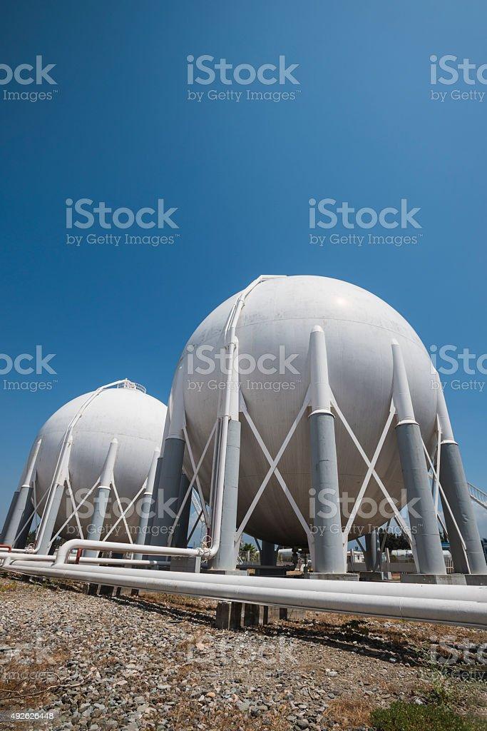 Liquefied Petroleum Gas tanks stock photo