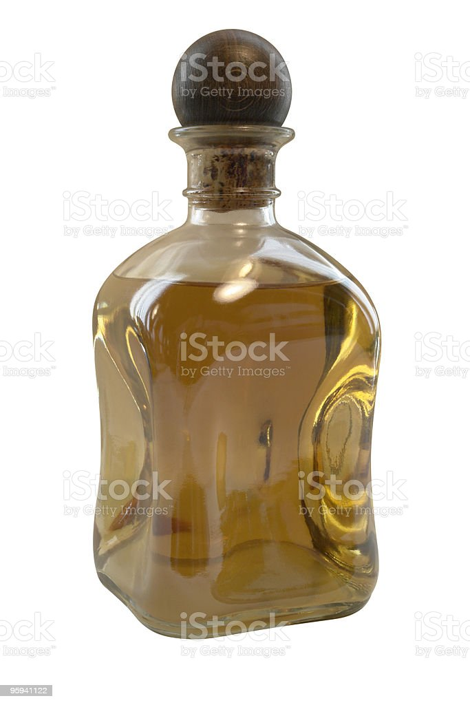 liqueur bottle with wooden closure royalty-free stock photo