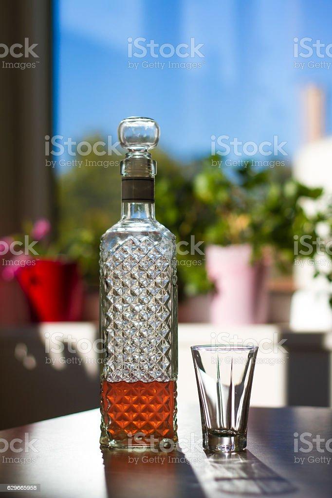 Liqueur in bottle - Stock Image stock photo