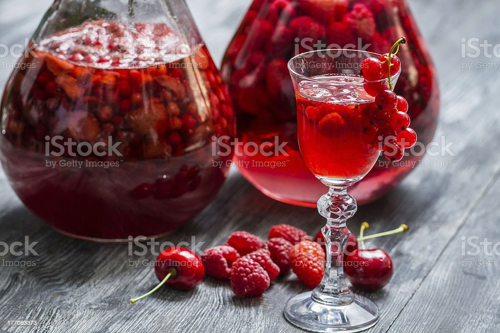 Liqueur made of wild berries and alcohol royalty-free stock photo
