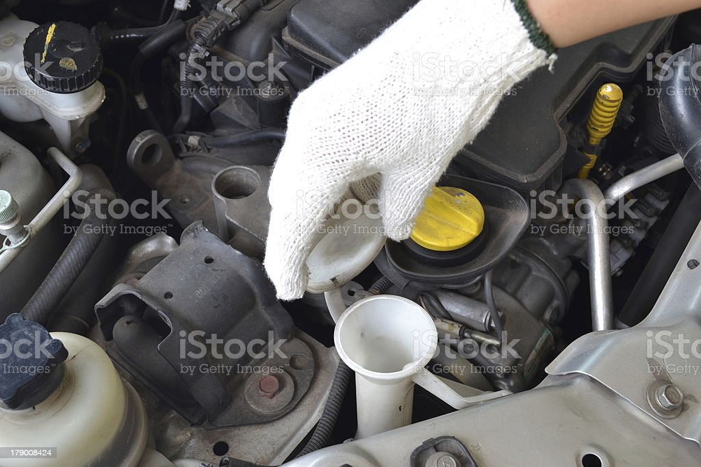 liquid caps inside a car engine royalty-free stock photo