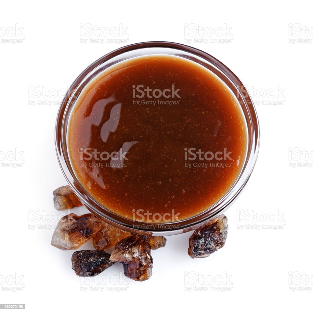 Liquid caramel and caramelized sugar stock photo