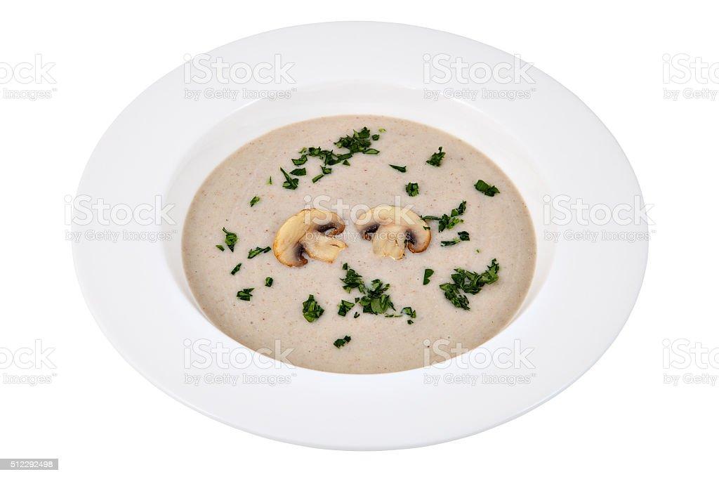 Liquid dish, Mushrooms cream soup  in white plate, studio shot. stock photo