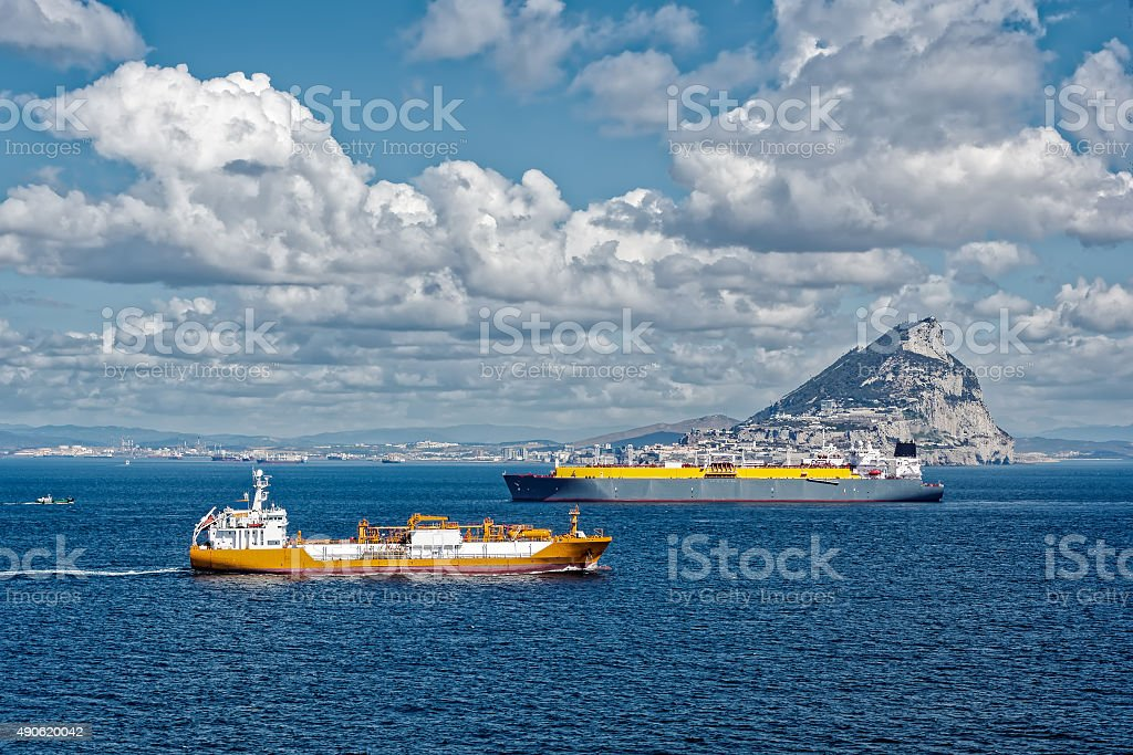 Liquid gas tankers in Gibraltar stock photo