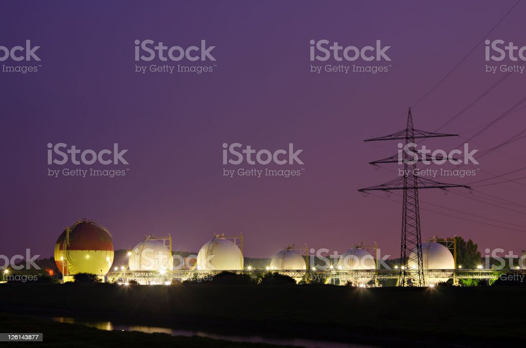 Liquid Gas Tanks At Night royalty-free stock photo