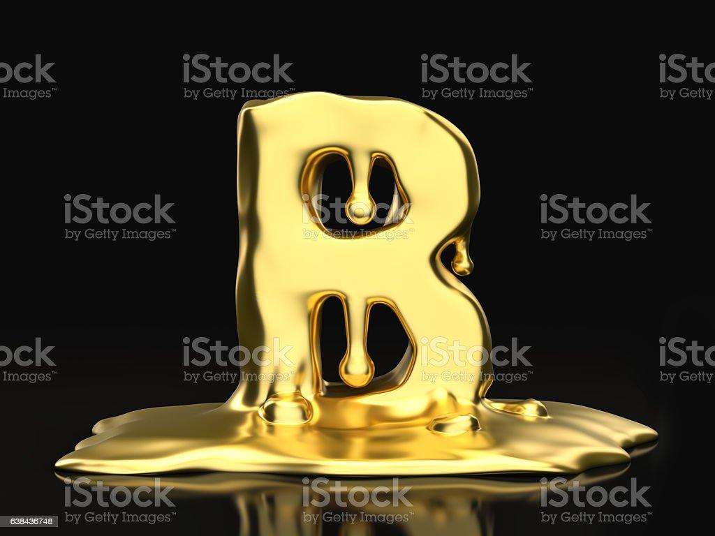 Liquid gold letter B stock photo