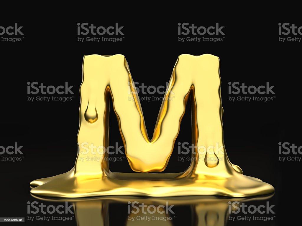 Liquid gold letter M stock photo