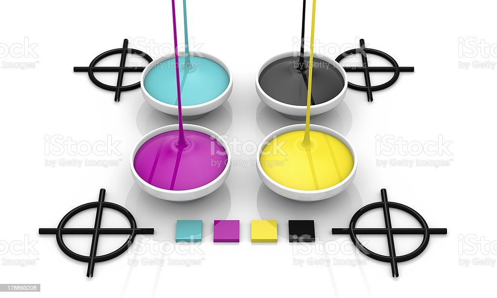 CMYK liquid inks and target royalty-free stock photo
