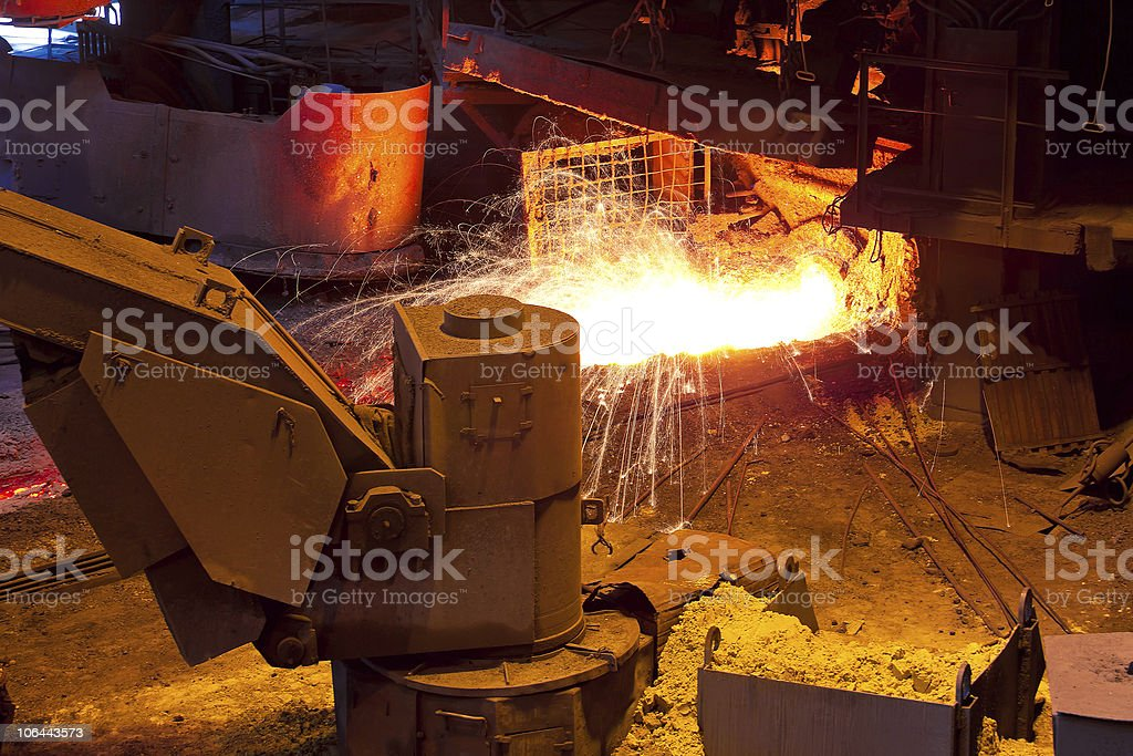 Liquid metal from blast furnace royalty-free stock photo