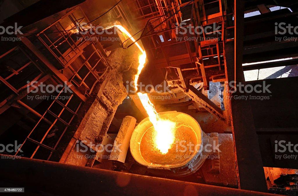 Liquid metal from blast furnace stock photo