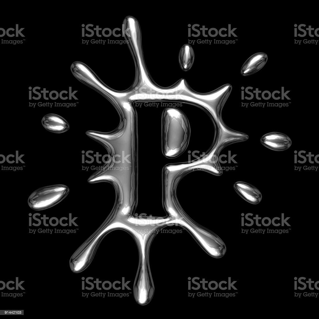 Liquid metal letter P royalty-free stock photo