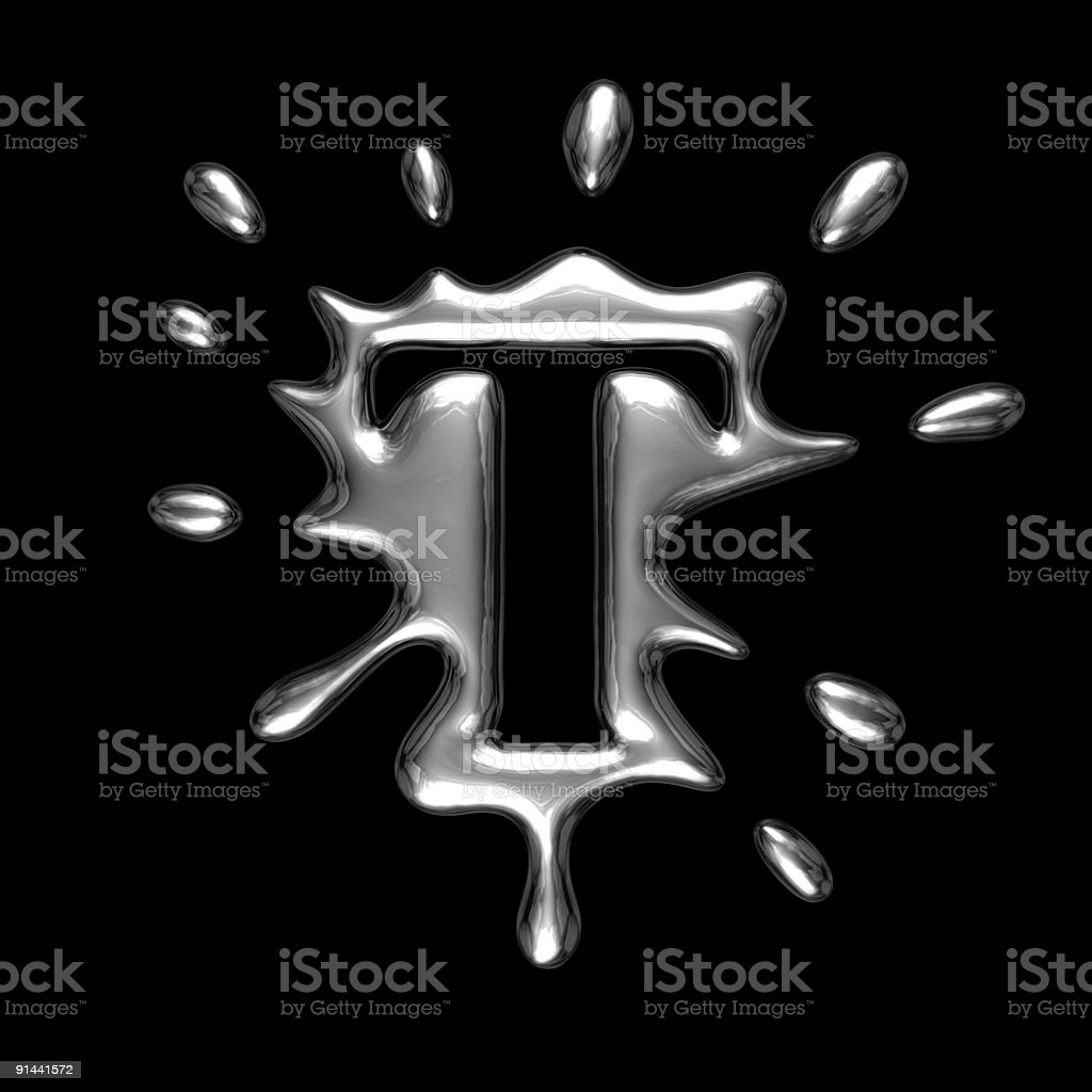 Liquid metal letter T royalty-free stock photo