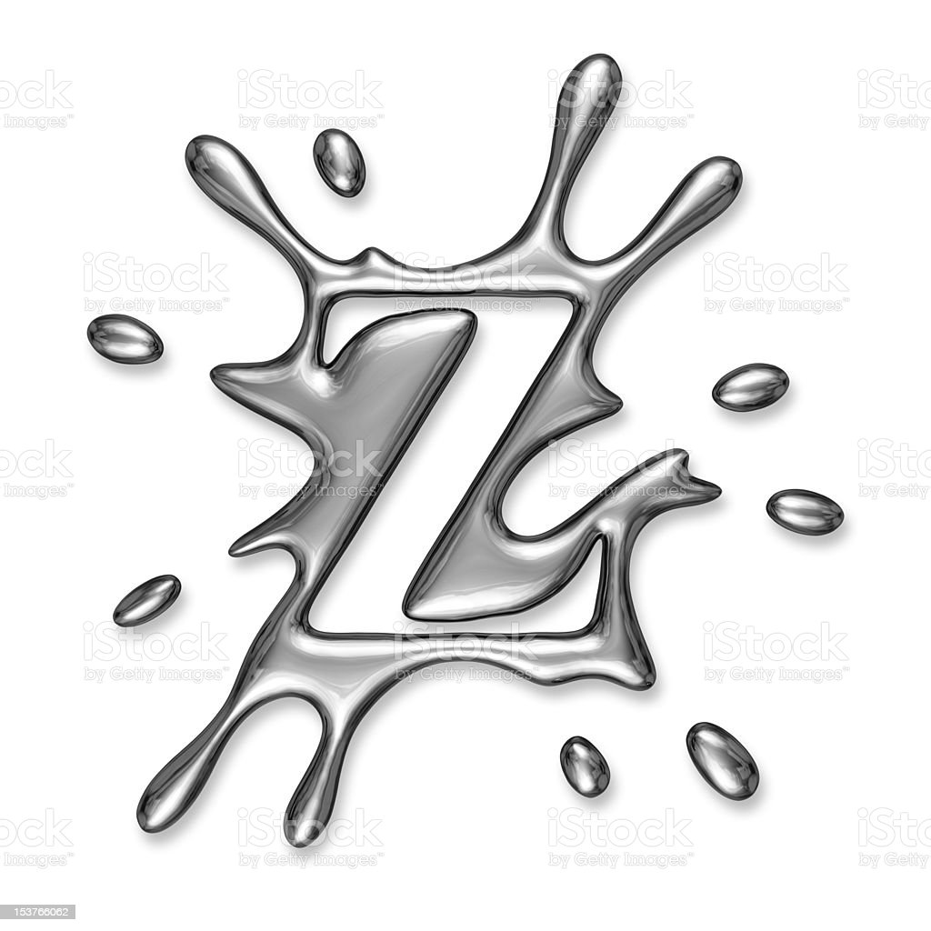Liquid metal letter Z royalty-free stock photo