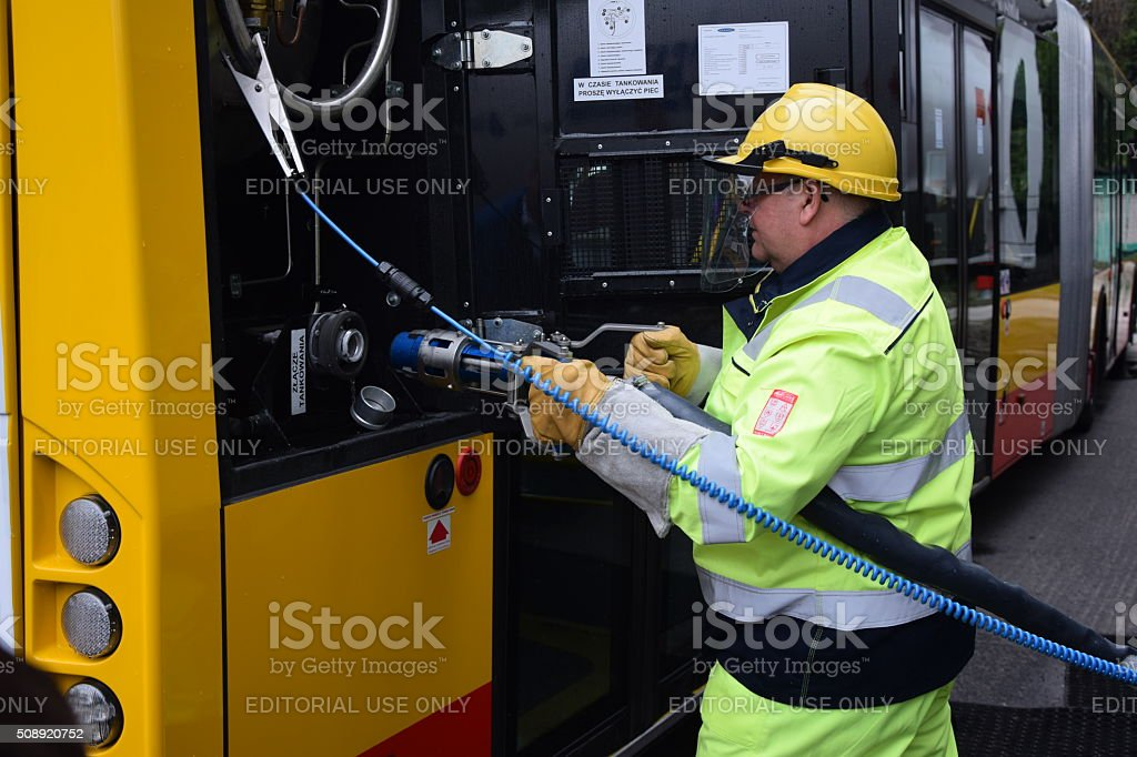 Liquid methane refueling on the mobile filling station stock photo