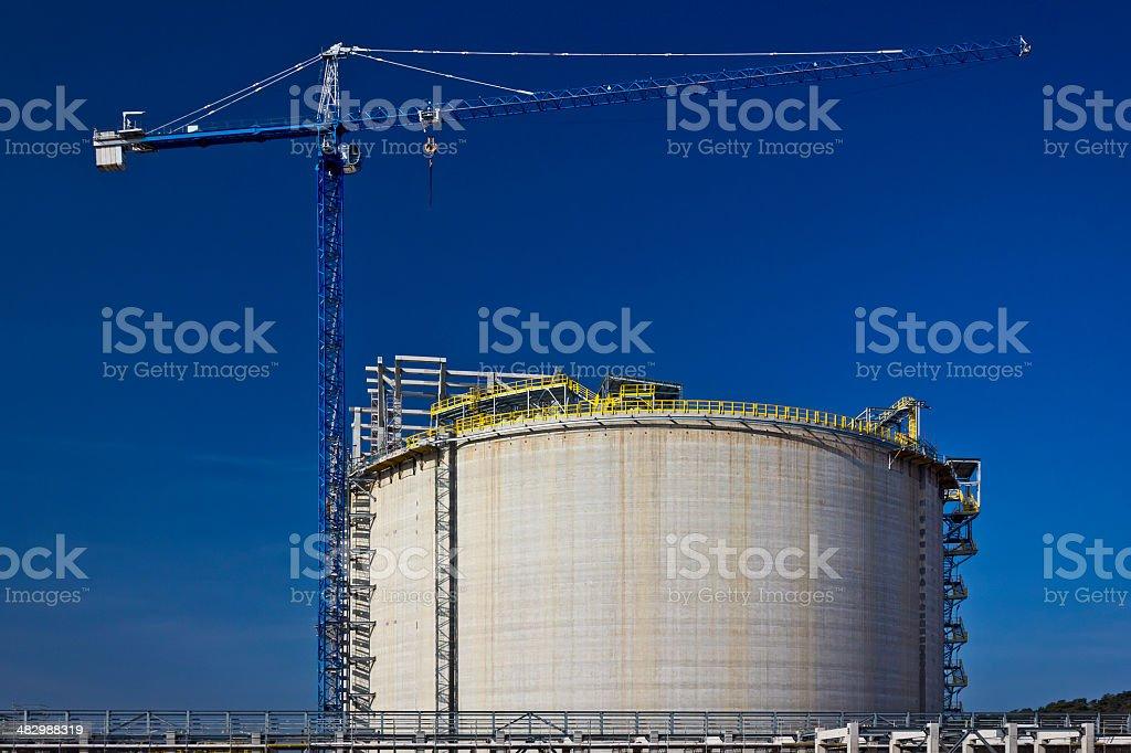 Liquid natural gas storage tank under construction royalty-free stock photo