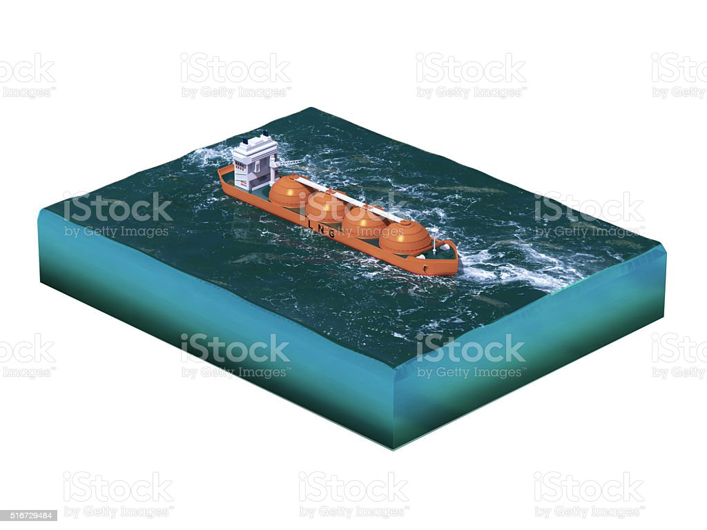 Liquid natural gas tanker ship on section of sea, water stock photo