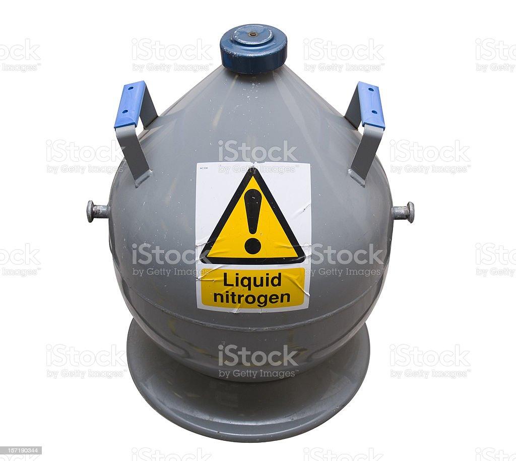 Liquid Nitrogen Bottle, isolated on white royalty-free stock photo