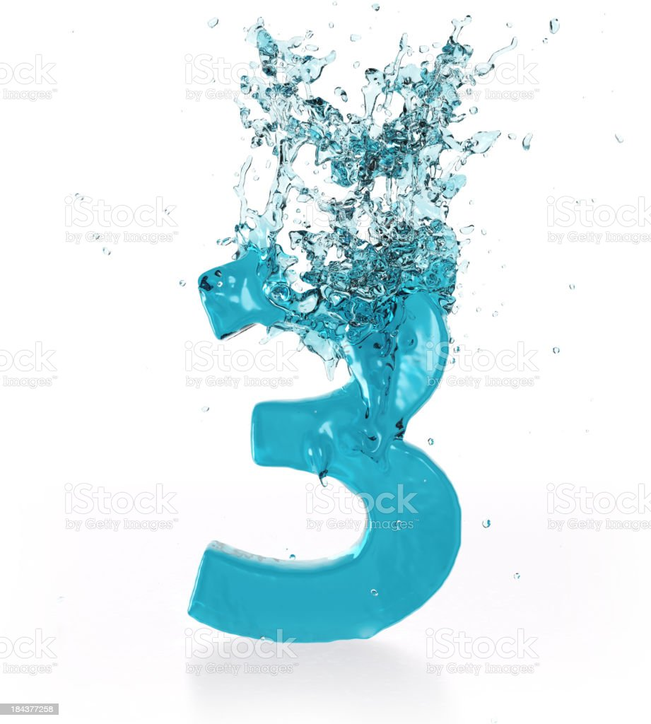 Liquid Number 3 royalty-free stock photo