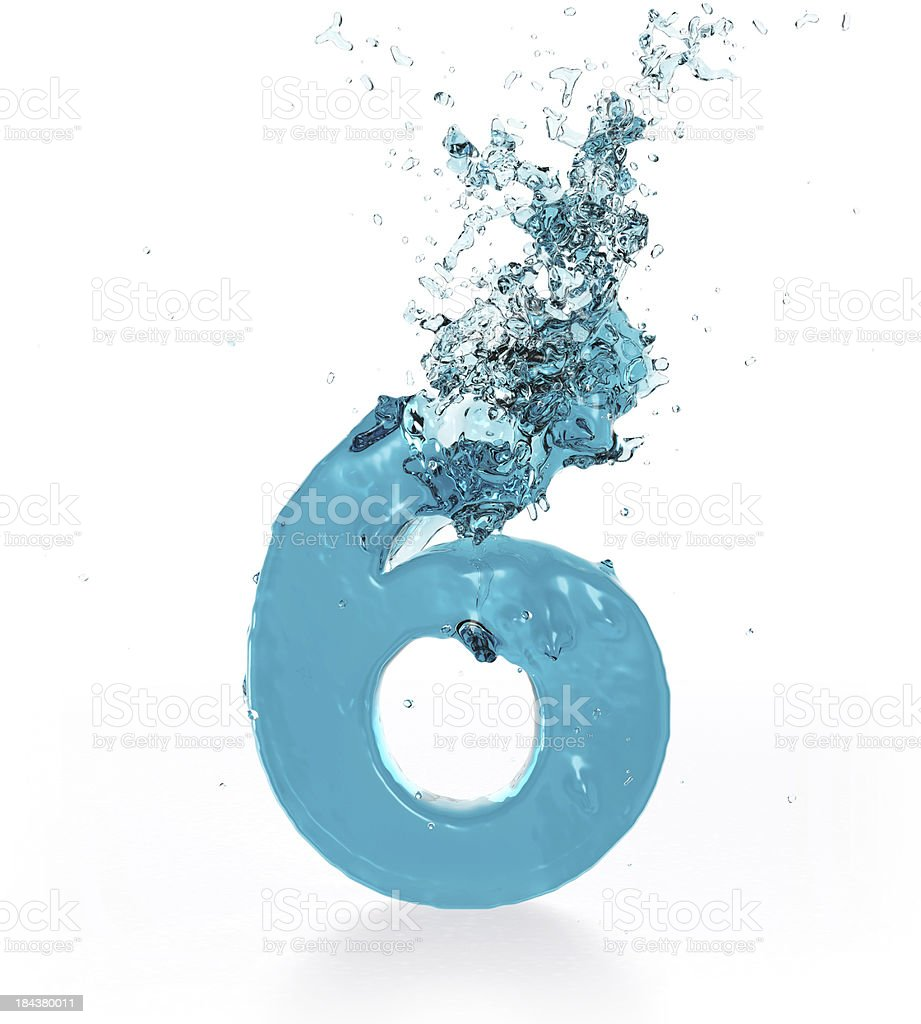 Liquid Number 6 royalty-free stock photo