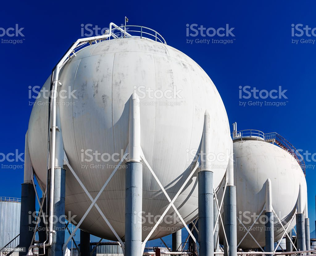 Liquid petroleum gas tanks in the refinery field stock photo