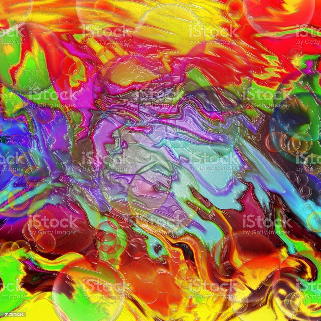 Liquid rainbow geometric plastic square pattern stock photo