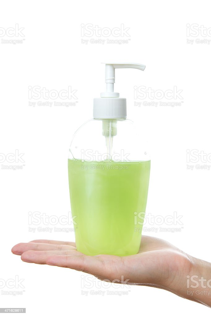 Liquid soap in female hand royalty-free stock photo