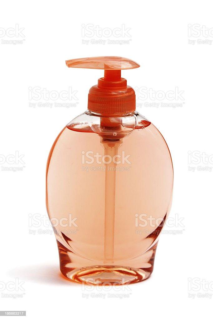 Liquid soap in transparent bottle stock photo