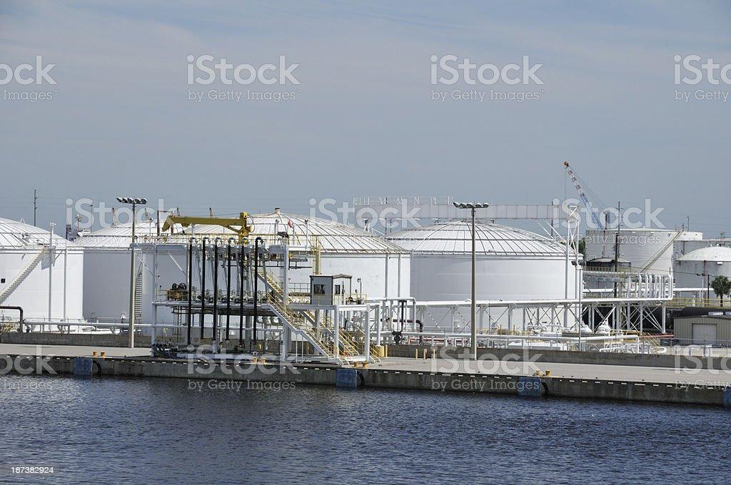 Liquid storage tanks and transfer dock royalty-free stock photo