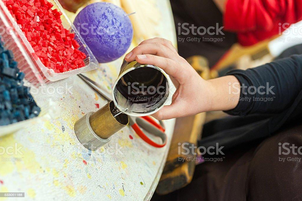 Liquid wax colors stock photo