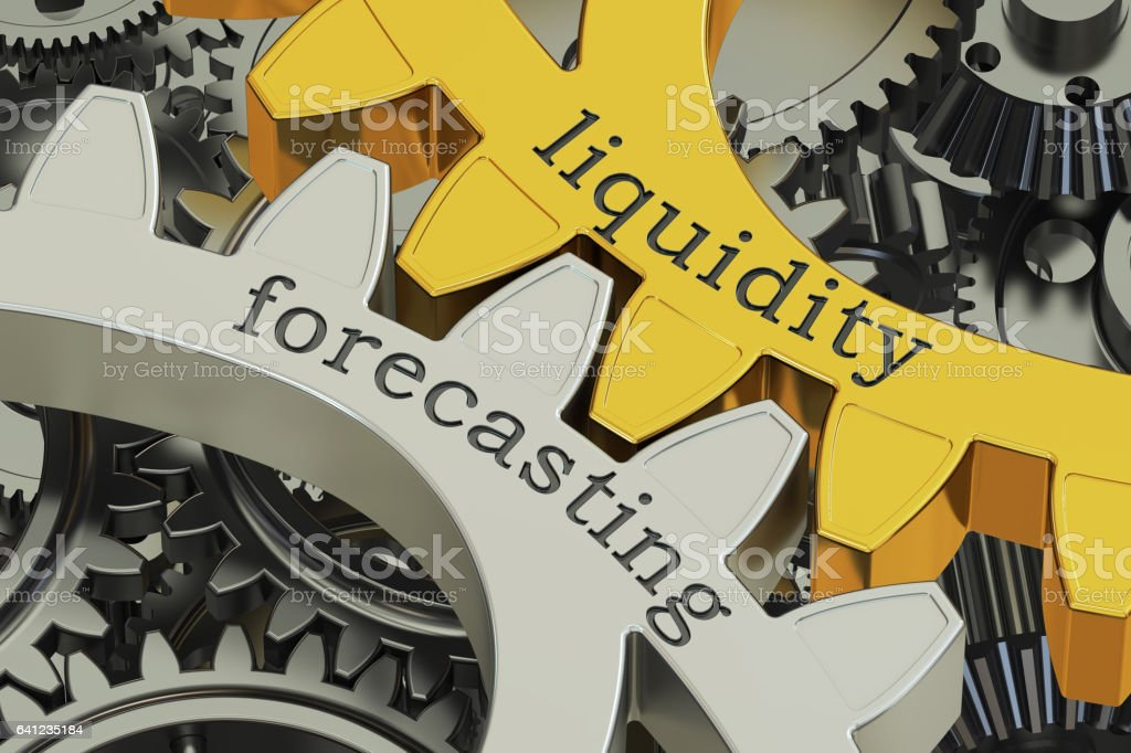 Liquidity Forecasting concept on the gearwheels, 3D rendering stock photo