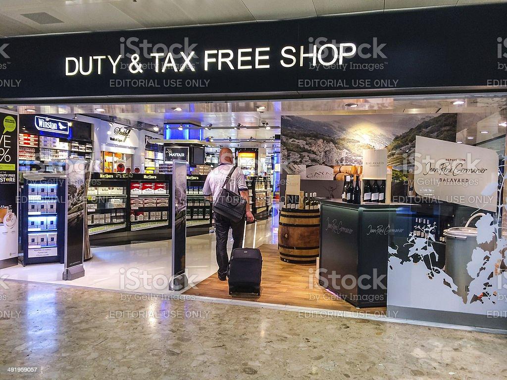 Liquor and tabac Duty Free Store in  Geneva Airport stock photo