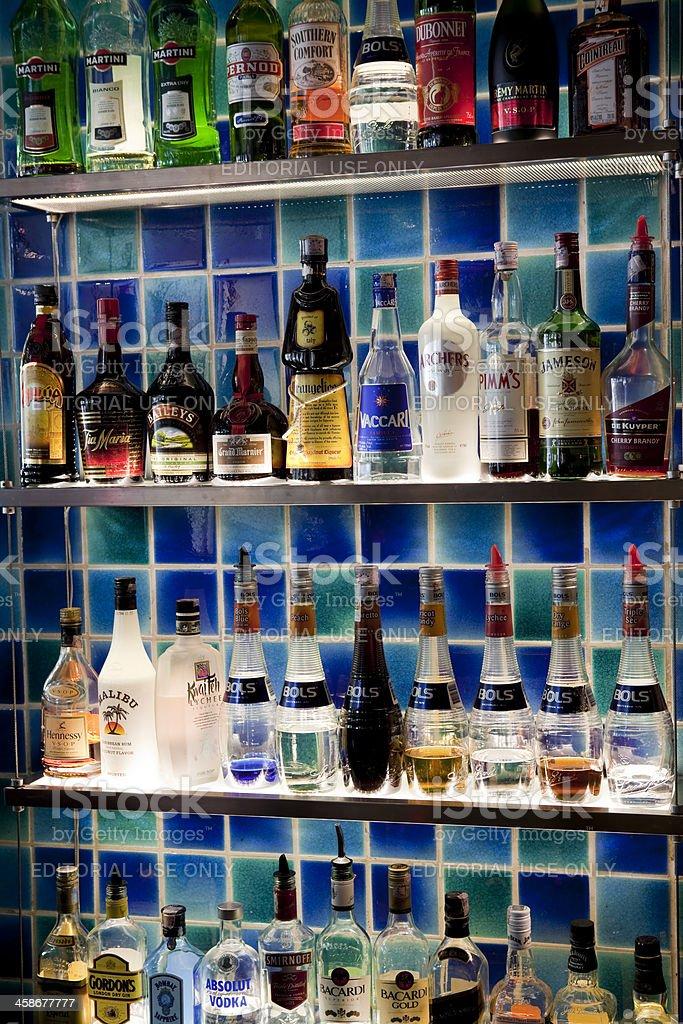 Liquor bottles bar stock photo