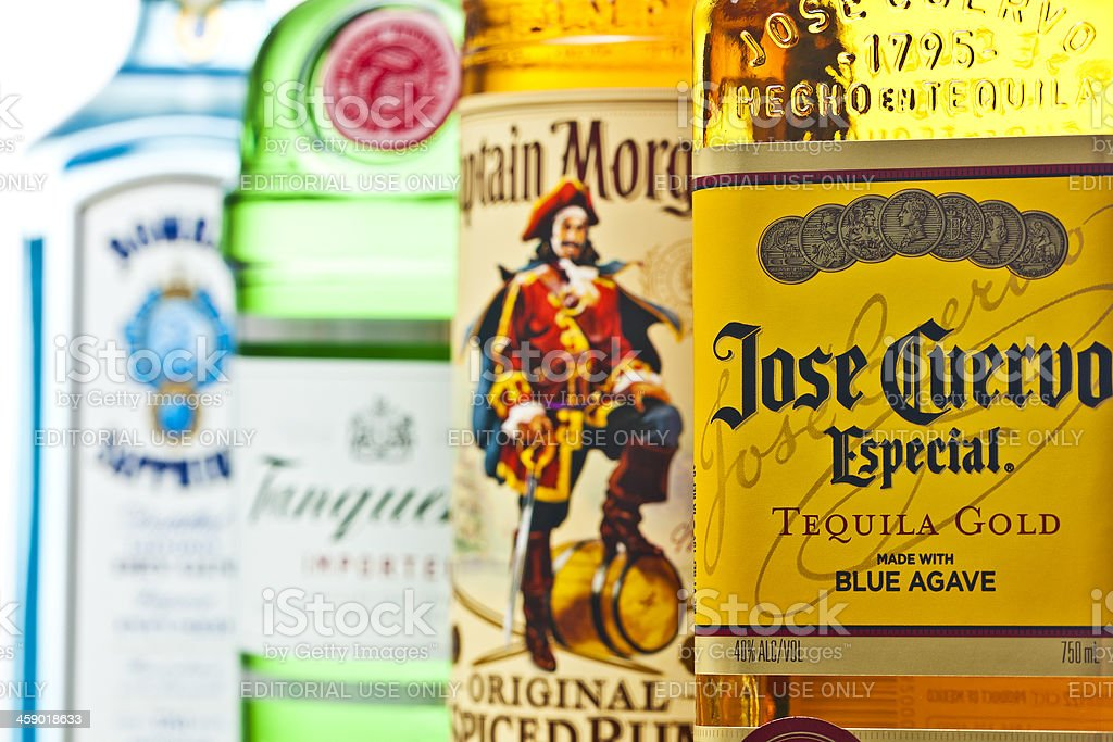 Liquor Bottles Close Up stock photo