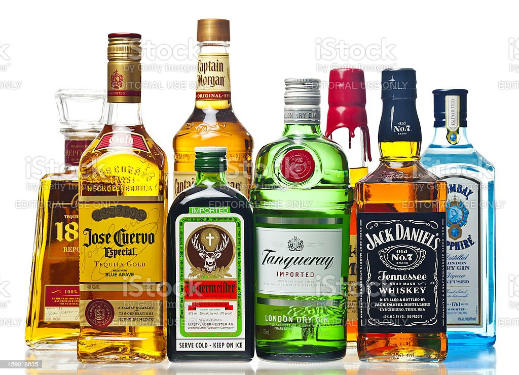 Liquor Bottles On A White Background stock photo