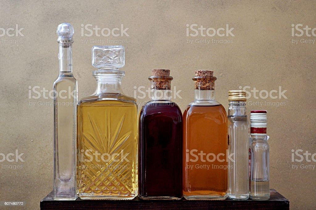 liquor bottles row stock photo