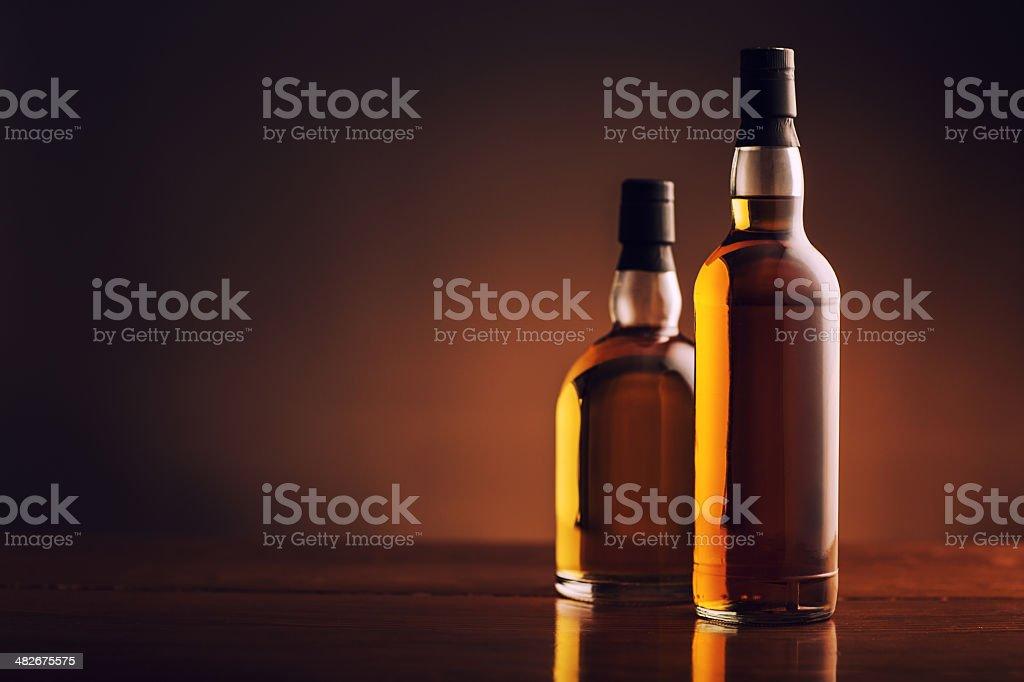 Liquor Bottles with Copyspace stock photo